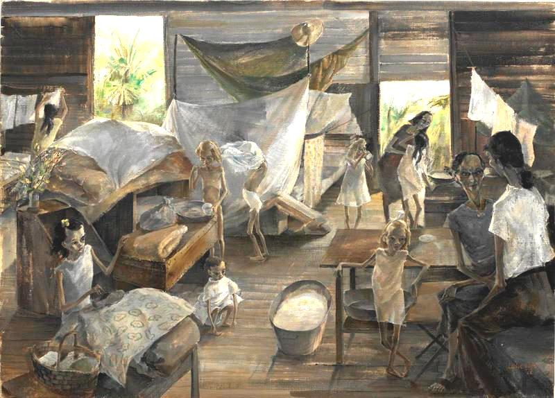 British Women and Children Interned in a Japanese Prison Camp Syme Road Singapore Art IWMARTLD5620