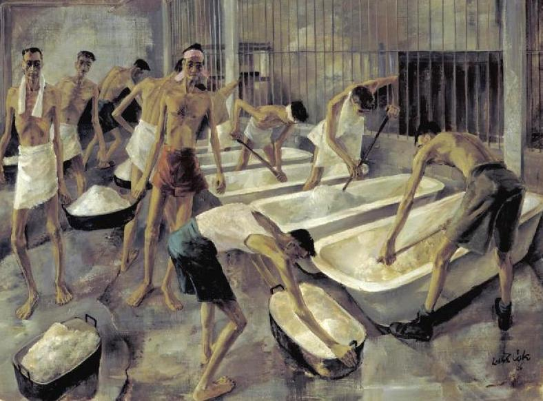 Singapore the cookhouse Changi Gaol British Pows prepare their main meal of rice Art IWMARTLD5825